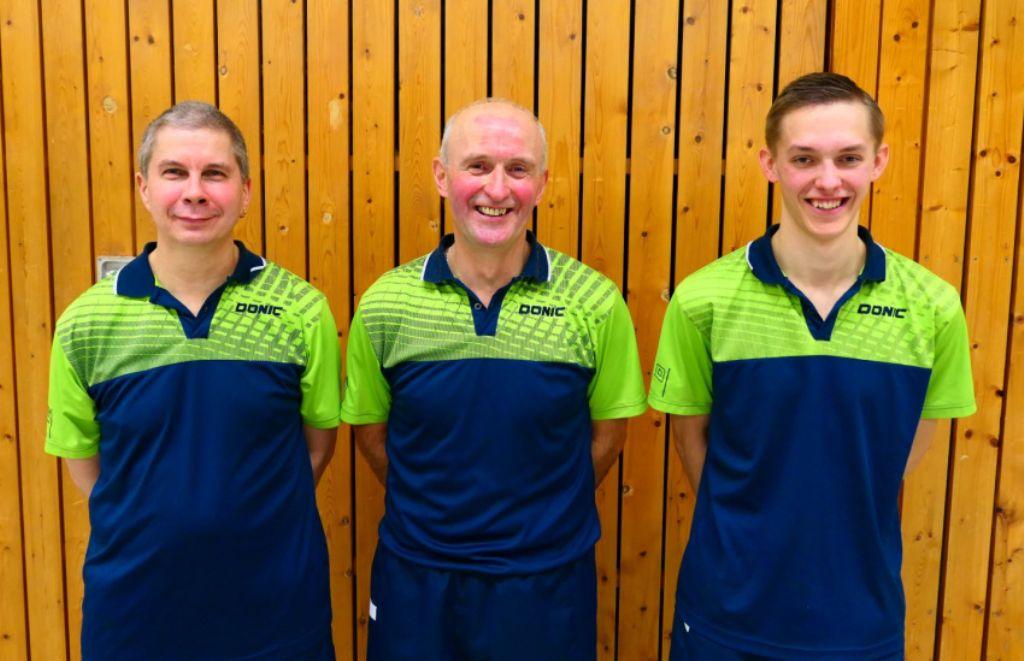 Vereinsmeister TT-Einzel 2019 v.l. Carsten Voigt, Heiko Meyer, Pascal Felsch