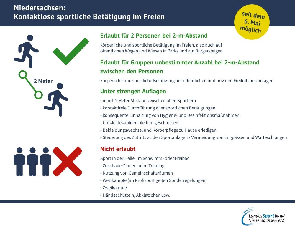 Kontaktlose sportliche Betätigung im Freien - Niedersachsen
